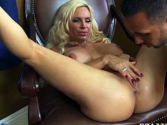 Insatiably horny blonde mom Diamond Foxxx fucks handsome Doc right in front of her hubby. She sucks meaty cock deepthroat before getting nailed doggy style.