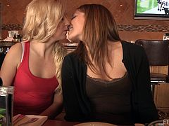 A couple of cuties shows off their titties, kiss and start licking each other's perky tits, hit play and check it out right here!