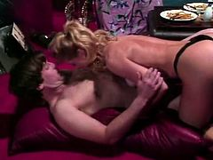Lovely blonde babe with amazing curves wearing tiny thongs gets her soft tits licked. Blond hoe gives blowjob, rides her fucker on top ad gets her cunt shagged missionary style.