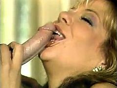 This blondie is a super qualified slut when it comes to pleasing men. Once she sees her lover's meat stick she can't resist trying it out. She sucks it passionately like a dirty whore.