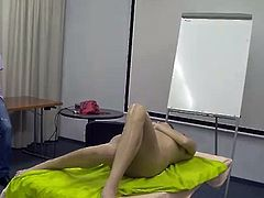 Nude amateur massage demonstration - gorgeous slim brunette