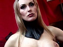 Hawt seductress in corset gives blowjob to a duo of guys