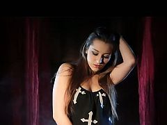 If you love sexy witch or bit titted vampire babe, then don't miss this hot smokey solo video of sexy Dani Daniels in with she dressed herself in a gothic horny vampire who spreads her legs and fingers her hairy cunt.What a hairy Vampire slut!