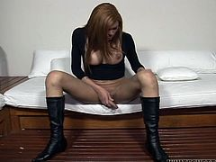 This spoiled ladyboy looks simply irresistible. She has a nice set of big tits and a well-shaped ass. In this hot masturbation video she acts really naughty. She plays with her swollen pecker like with a gear shift lever.