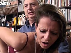 Take a look at this hardcore scene where the sexy Larissa Gold is drilled by this old man's big cock in the middle of the library where he she ends up getting a mouthful of his cum.