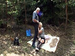 Porner Premium brings you an amazing free porn video where you can see how mature and young bitches get fucked together by a horny old dude in the forest.