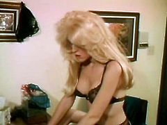 Big boobs blond chick Lisa De Leeuw got fucked on table by horny stud and bitchy slut
