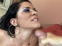 Chris Charming is having fun with sexy brunette milf Savannah Stern. Savannah drives Chris crazy with a passionate blowjob and then they fuck doggy style and in the reverse cowgirl position.