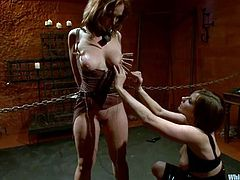 Hot brown-haired girl gets chained by the mistress. Later on she gets her boobs clothespinned. Then she gets toyed with a strap-on and a vibrator.
