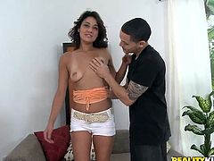 Get excited by watching this brunette babe, with natural tits and a great ass, while she uses her pretty mouth to go up and down this guy's cock!