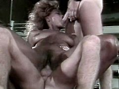 Full bosomed broad assed light head ebony slut rides long bonker in reverse cowgirl pose and gets her chocolate mouth turbulently loped by another pecker at the same time. Take a look at this amazing threesome fuck in The Classic Porn sex clip!