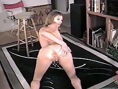 Naughty girl on high heels shakes her booty. Then she gives a blowjob to fatty and then gets fucked doggystyle.