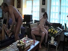 Mature dude fucks his son girl before his wife and son came and join their nasty game as they fuck in couples before guys filled lusty mouth with scrumptious cum.