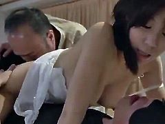 She went to sleep when that nasty older fart come in and start squeezing her tits and fingering her wet cunt in front of her sleeping husband.