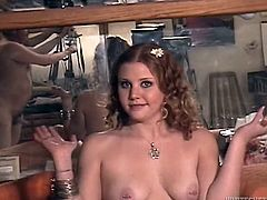 Chubby redhead Cherry Poppens is having fun with some fat guy indoors. They fuck doggy style and in the reverse cowgirl position and Cherry moans loudly with pleasure.