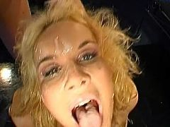 Needy slut goes wild and bangs hard before having her face splashed with creamy juice