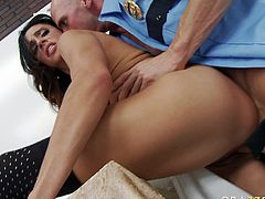 Voracious brunette porn star with huge boobs is getting screwed bad doggy style. She moans wild and naughty getting screwed brutally.
