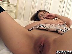Busty Japanese babe Haruka Sanada loves blowing men's dongs. But to get in the mood, first she must get her shaved pussy munched and fingered.