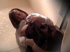 Voyeur Japan TV brings you a nasty free porn video where you can see how a hairy and chubby Japanese brunette masturbates in the bathroom til she cums VERY hard.