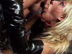 Filthy blonde rubs her pussy really hard  till her lover shows up and fucks her hard and deep, exactly the way she likes it.