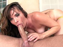Adorable Dana DeArmond amazes with her wet lips before swallowing warm jizz