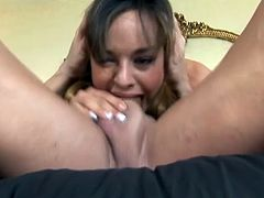 Sexy Cytherea swallows his cock down her throat and nearly gags herself until he finally explodes and fills her mouth with hot spunk.