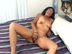 Fingering and rubbing at same time is what nasty granny love to do when she is alone at her big bed, masturbation is what makes her happy.