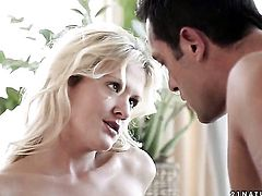 Blonde Andrea Francis gets her mouth pumped full of ram rod in cock sucking action with hot fellow