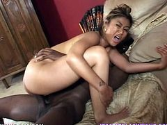 Asia is a slutty Asian babe having her wet pussy and tight asshole in this hardcore interracial scene where she takes a pounding from a black monster cock.