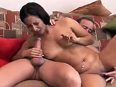 Check out this bitch as she squats and starts fingering her pussy before giving a great blowjob. Her pussy is wet and needs some action