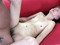 Dillon Day is having fun with shy redhead granny called Marcela. The kinky stud pets the old woman and then fucks her snatch in side-by-side position.