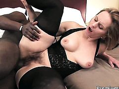 Unbelievably sexy breathtaker shows her slutty side in interracial hardcore action