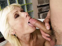 Blonde finds him sexy and takes his hard pole in the bum hole