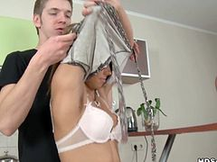 Cute lovely blond girlie tied up and fucked like a dirty whore in kitchen