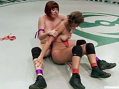 Salacious lesbians Odile and Reena Sky are having a tussle on tatami. They beat each other and then the loser submits to the winner and gets her cunt smashed with a dildo.