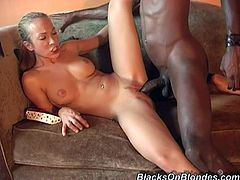 Playful blonde girl gives hot blowjob to Black dude. He has such a huge cock that he cannot shove it completely. Jamie also gets her mouth filled with cum.
