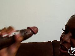 Beautiful ebony chick Cali gives eager deepthroat blowjob. Then Rico inserts his huge pole in her shaved snatch and drills her hard missionary style position.