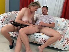 Kinky old woman has sex with much younger guy. She sucks his dick skillfully and then gets rammed in her old vagina. She also gets creampied.