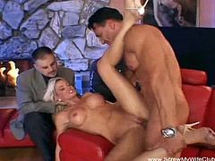 This hot blonde wife and her hubby are about to become the newest members of the Screw My Wife Club and you get to be the witness as she takes a strange dick in her pussy and ass while her man watches.