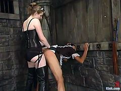Kinky dominatrix Princess Kali is having fun with an Asian dude called Saba. She humiliates him and dresses him as a maid and then makes him suck her strapon and destroys his ass with the toy.