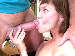 Slutty brown-haired chick is playing dirty games with some dude indoors. She sucks and rubs the dude's wang devotedly and then massages his weiner with her natural boobs.