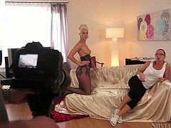 Porn director Silvia Saint is shooting a lesbian scene with Tea Jul and Blanche A. Tea and Blanche make out and caress each other and then please each other with cunnilingus and fingering.