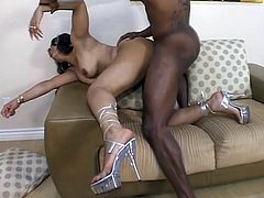 Be part of this video where a long haired ebony, with a nice ass wearing high heels, goes hardcore with a fellow and gets her black butt covered in jizz!