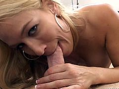 Busty blonde milf Mellanie Monroe drives some guy crazy with a terrific blowjob. Then they bang in cowgirl, reverse cowgirl and missionary positions and enjoy it much.