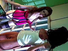 Life in prison is very interesting for these hot whores. The brunette one is obedient and her redhead girl Nikki does what she pleases with her. She putted the brunette to lick her pussy and then, bent her over and played with her pussy. The obedient whore is mouth gagged and loves the treatment she receives