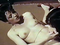 Short haired dark colored kinky girlie rests on floor and gets her hot tiny nipples and hairy kitty eaten in proper manner. Watch these hot lesbo babes in The Classic Porn sex clip!