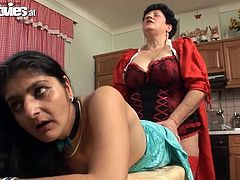 Check out this lesbian scene where these horny mature ladies fuck one another with a strapon that'll give you a boner.