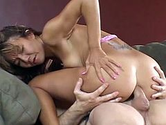 Petite asian doll receives a senior cock deep in that warm little ass hole