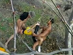 In this hot outdoor threesome scene you will see young blonde cheerleader babe named as Regan Starr.This blonde babe is fucked in this video hard and in her every hole on the swing, where one stud fucks her lovely mouth and other is busy in pounding her tight pussy and butt hole.
