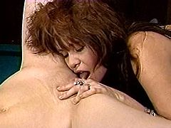 Big tits blond hooker and her red head salacious kooky fall on passionate flying pose licking of their flaccid saggy snatches. Watch this awesome lesbo kitty licking in The Classic Porn sex clip!